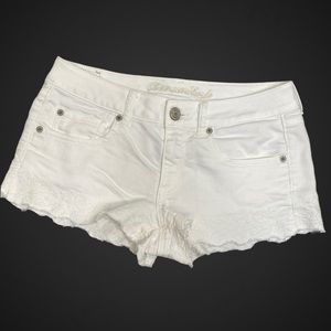 American Eagle Shorts White Stretch Lace Scalloped